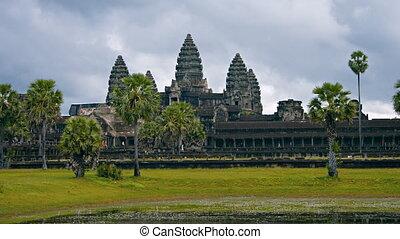 Cambodia, Angkor Wat. Shot with a horizontal panning