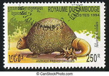 Doedicurus - CAMBODIA CIRCA 1994: stamp printed by Cambodia,...