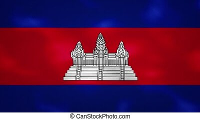Cambodia dense flag fabric wavers, perfect loop for background