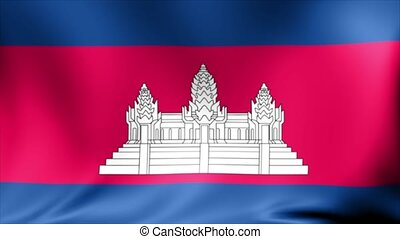 Cambodia Flag. Background Seamless Looping Animation.