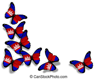 Cambodia flag butterflies, isolated on white background