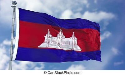 Cambodia Flag in a Blue Sky. Use this clip loud and proud to...
