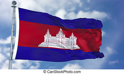 Cambodia Flag in a Blue Sky