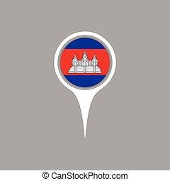 Cambodia flag location map icon , Vector illustration.