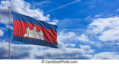 Cambodia flag on a blue sky background. 3d illustration