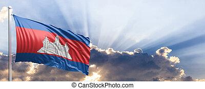Cambodia flag on blue sky. 3d illustration
