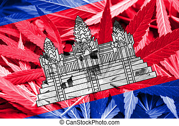 Cambodia Flag on cannabis background. Drug policy. ...