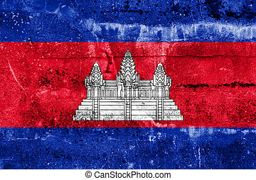 Cambodia Flag painted on grunge wall