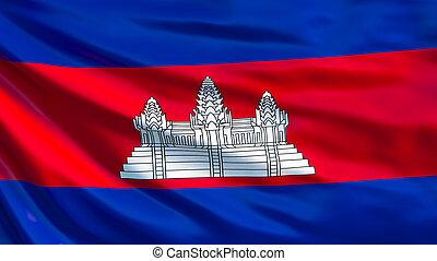 Cambodia flag. Waving flag of Cambodia 3d illustration