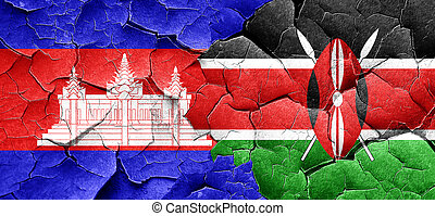 Cambodia flag with Kenya flag on a grunge cracked wall