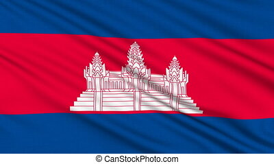 Cambodia Flag, with real structure of a fabric