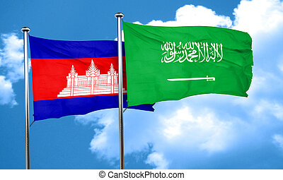 Cambodia flag with Saudi Arabia flag, 3D rendering