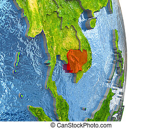 Cambodia in red on Earth