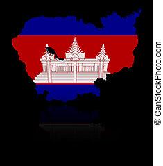 Cambodia map flag with reflection illustration