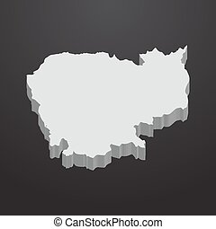 Cambodia map in gray on a black background 3d