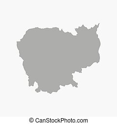 Cambodia map in gray on a white background