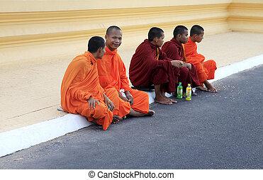 Cambodia monks - PHNOM PENH, CAMBODIA - APRIL 24: Cambodia...