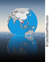 Cambodia on globe in water