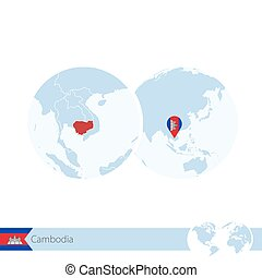 Cambodia on world globe with flag and regional map of...