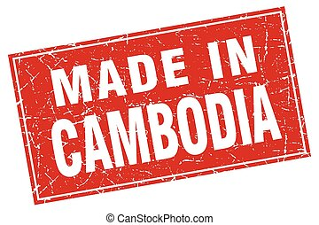 Cambodia red square grunge made in stamp