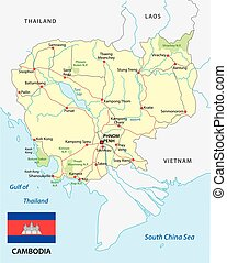 cambodia road map with flag