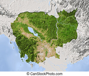Cambodia, shaded relief map. Colored according to...