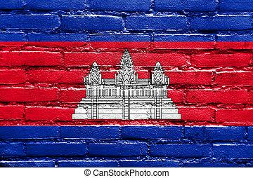 cambodia signalent, peint, sur, mur brique
