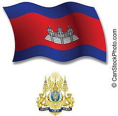 cambodia textured wavy flag vector