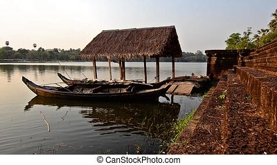cambodia, traditional boats - cambodia, mekong river and...