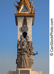 Cambodia-Vietnam Friendship Monument, Phnom Penh, Cambodia.