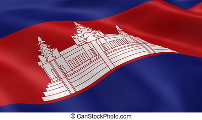 Cambodian flag in the wind. Part of a series.