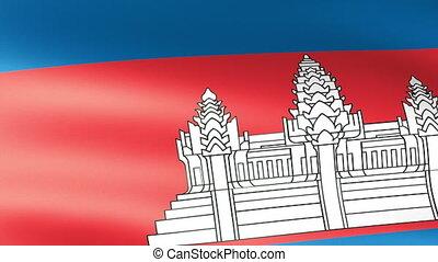 Cambodian Flag Waving