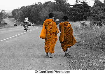 Cambodian monks walking on the road in Phnom Penh