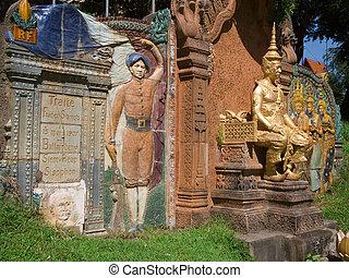 cambodian-thai, minnesmärke, in, phnompenh