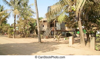Cambodian tranquil village houses in rural life