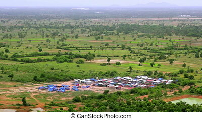 Cambodian village from high angle