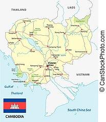 cambodja, wegenkaart, met, vlag