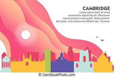 Cambridge City Building Cityscape Skyline Dynamic Background Illustration