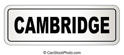 Cambridge City Nameplate - The city of Cambridge nameplate...