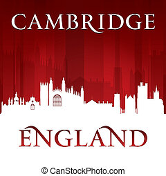 Cambridge England city skyline silhouette red background -...