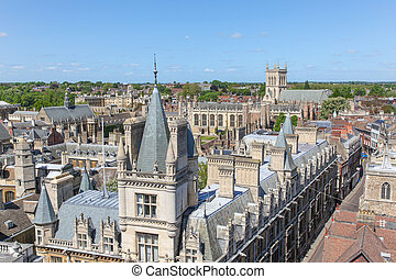Cambridge England - A high angled view of the historic...