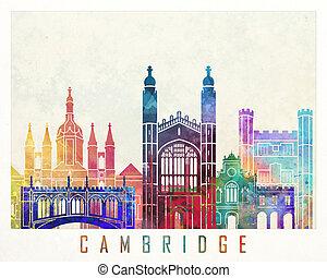 Cambridge landmarks watercolor poster
