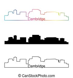 Cambridge MA skyline linear style with rainbow