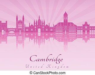 Cambridge skyline in purple radiant orchid in editable vector fi