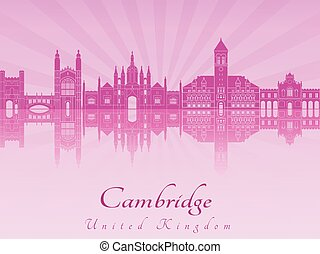 Cambridge skyline in purple radiant orchid in editable vector fi