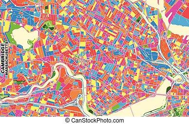 cambridge, vetorial, eua, coloridos, massachusetts, mapa