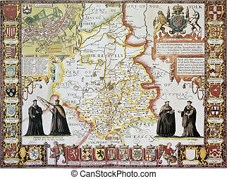 Cambridgeshire old map, from The Theatre of the Empire of...