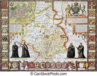 cambridgeshire, viejo, mapa