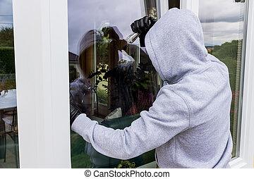 cambrioleur, à, a, fenêtre