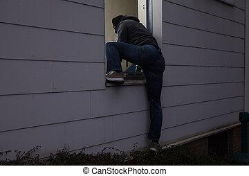 cambrioleur, entrer, maison, fenêtre